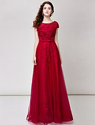 Formal Evening Dress A-line Scoop Floor-length Lace with Flower(s)