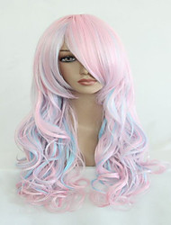 High Quality Blue Mix Pink 70cm Long Wavy Halloween Synthetic Cosplay Lolita Wig