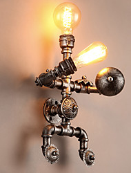 Loft Water Pipe Wall Lights Retro Industrial Style Creative Robot Design  Metal Restaurant Cafe Bars Bar Table Wall Sconces