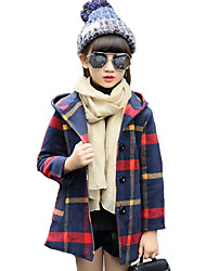 Girl's Casual/Daily Plaid Down & Cotton Padded,Cotton / Spandex Winter Green / Red