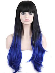 longue perruque de cheveux ondulés avec une frange perruques couleur synthétique noir et bleu pour les femmes