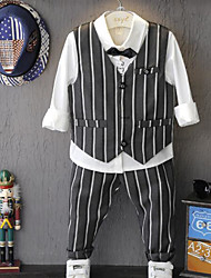Boy's Formal Striped Clothing SetCotton Spring / Fall Gray