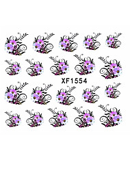Watermark Water Transfer Design Purple Flowers European Style Tip Nail Art Sticker