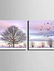 Квадратный Модерн Настенные часы , Прочее Холст40 x 40cm(16inchx16inch)x2pcs/ 50 x 50cm(20inchx20inch)x2pcs/ 60 x