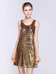 Women's Sequin Formal/Party Sexy/Street chic Sheath Dress Embroidered U Neck Above Knee Sleeveless Polyester All Seasons