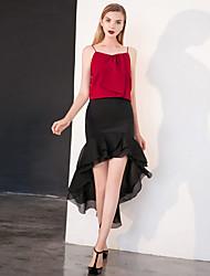 Damen Röcke - Retro Übers Knie / Asymmetrisch Polyester Unelastisch