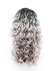 neuen Stil schwarzen Wurzeln graue Haare ombre Haar zwei Töne schnüren vordere lose Welle synthetische Haarspitzeperücken