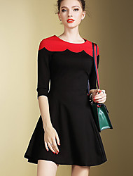 Women's Going out Street chic A Line DressColor Block Round Neck Above Knee  Sleeve Black / Winter