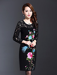 AINIER Women's Casual/Daily Chinoiserie Tunic DressEmbroidered Round Neck Above Knee Long Sleeve Black