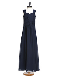 LAN TING BRIDE Floor-length Chiffon Junior Bridesmaid Dress A-line Straps Natural with Criss Cross Ruching