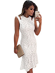 Women's Creamy White Cutout Shoulder Mermaid Style Midi Dress