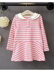 Girl's Going out Striped DressCotton Spring / Fall Blue / Pink