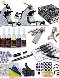 OPHIR Complete 2 Machine Tatto Kit with 6 Colour Pigment Ink Tattoo Equipment Set for Beginner