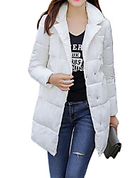 Women's Long Padded Coat,Simple Casual/Daily Solid-Polyester Polyester Long Sleeve Shawl Lapel Pink / Red / White / Black / Gray