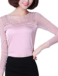 Fall Women's Tops Solid Color Round Plus Size Neck Long Sleeve Elegant Vintage Lace Blouse Ladies Casual Going Out Top