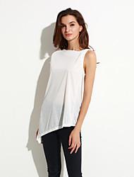 Women's Solid White Blouse,Slash Neck Sleeveless