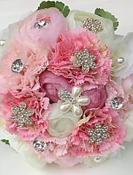 Fleurs de mariage Rond Roses Pivoines Bouquets Mariage La Fête / soirée Satin Strass Env.25cm