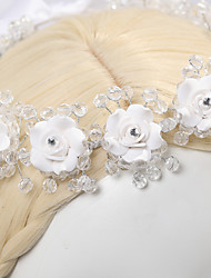 Women's Flower Girl's Satin Crystal Imitation Pearl Headpiece-Wedding Special Occasion Casual Flowers