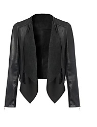 Women's Casual/Daily Simple Leather Jackets,Solid Long Sleeve Winter Black PU Medium
