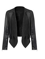 Женский На каждый день Однотонный Кожаные курткиПростое Зима Черный Длинный рукав,Полиуретановая,Средняя