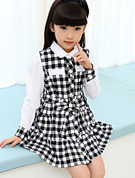 Girl's Casual/Daily Solid Dress,Linen Spring / Fall Long Sleeve