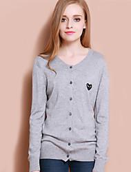 XuanFeiLu® Damen V-Ausschnitt Lange Ärmel Pullover & Cardigan Grau-Q-606