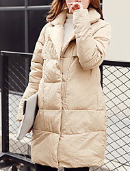 Women's Long Padded Coat,Simple Casual/Daily Solid-Polyester Cotton Long Sleeve Notch Lapel Multi-color