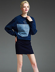 Women's Going out Simple Bodycon Dress,Patchwork Round Neck Above Knee Long Sleeve Blue Cotton Winter Mid Rise Micro-elastic Medium