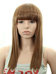 longue perruque de cheveux ondulés avec une frange brune perruques couleur synthétiques pour les femmes