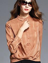 BOMOVO® Feminino Colarinho de Camisa Manga Comprida Shirt & Blusa Cáqui-B16QAN8