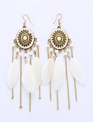 Feminino Brincos Compridos Brinco Jóias Moda Europeu bijuterias Pena Liga Jóias Para Casamento Festa Diário