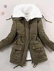 Damen Gefüttert Mantel,Standard Einfach Lässig/Alltäglich Solide-Baumwolle Baumwolle Langarm Blau / Rosa Hemdkragen
