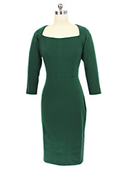 Women's Fashion Sexy Popular Plus Size / Formal Solid Square Neck Knee-length  Sleeve Green Bodycon Dress