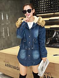 Vestes en Jean Femme,Couleur Pleine Sortie / Décontracté / Quotidien Sexy / simple / Mignon Manches Longues Capuche Bleu Autres Moyen
