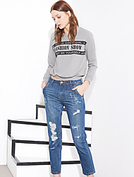 I'HAPPY Women's Solid Blue Jeans PantsStreet chic Spring / Summer