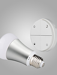 Battery-Free Self-powered Wireless Remote Control E27 Smart Dimmable LED Bulb-White Switch & Silver Bulb