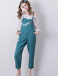 Women's Embroidered Green Jumpsuits,Cute Strap Sleeveless