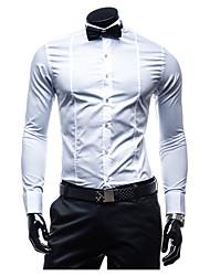 Masculino Camisa Casual Simples Verão / Outono,Sólido Branco / Preto Algodão Colarinho Chinês Manga Longa Média