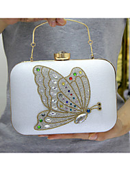 Women Bags All Seasons PU Poly urethane Evening Bag with Crystal/ Rhinestone Acrylic Jewels for Event/Party Formal Office & Career Black