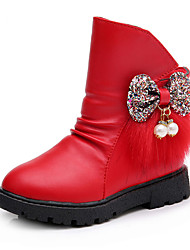 Girl's Boots Fall / Winter Fashion Boots PU Casual Flat Heel Bowknot Black / Red / Champagne Walking