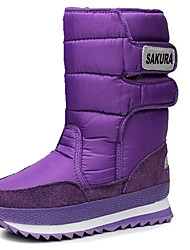 Women's Boots Winter Comfort Fur Outdoor Casual Flat Heel Magic Tape Black Blue Purple Red Gray Hiking Walking