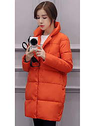 Women's Padded Coat,Simple Casual/Daily Solid-Polyester Polypropylene Long Sleeve Black / Brown / Orange