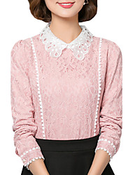 Fall Spring Women's Go out Casual Patchwork Peter Pan Collar Long Sleeve Lace Blouse