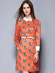 YBKCP Women's Casual/Daily Simple A Line DressPrint Stand Above Knee Long Sleeve Orange Others Fall Mid Rise Inelastic Medium