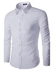 Men's Casual/Daily Simple Spring / Fall ShirtSolid Shirt Collar Long Sleeve White / Black Cotton Medium hot sale