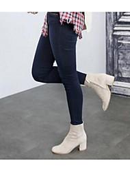Damen-Stiefel-Lässig-Wildleder-BlockabsatzSchwarz Mandelfarben