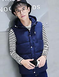 Men's Down Coat,Simple Casual/Daily Solid-Cotton Without Filling Material Sleeveless Hooded Blue / Red