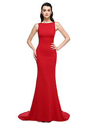 Formal Evening Dress - Trumpet / Mermaid Bateau Sweep / Brush Train Stretch Satin with Beading