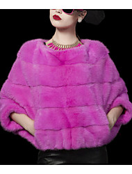 Women's Casual/Daily Simple Fur Coat,Solid Long Sleeve Winter Pink / White / Purple Others