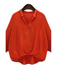 Women's Plus Size Simple Fall ShirtSolid Shirt Collar Long Sleeve White / Black / Orange Acrylic Medium